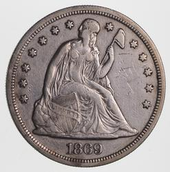 1869 Seated Liberty Silver Dollar, circulated