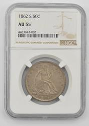 1862-S Seated Liberty Half Dollar - NGC AU55