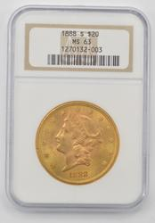 1888-S $20.00 Liberty Head Gold Double Eagle - NGC MS63