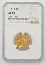1912-S $5.00 Indian Head Gold Half Eagle - NGC AU58