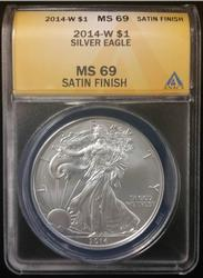 Certified Silver Eagle 2014 W MS69 ANACS Satin Finish