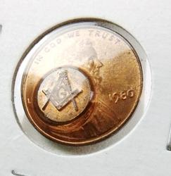 Blown Out Masonic 1980 Penny