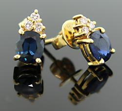 Sapphire & Diamond Earrings in 18K