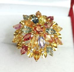 Multi Colored Natural Sapphire and Gold Cocktail Ring