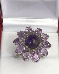 Fine Sterling Silver and Amethyst Cocktail Ring