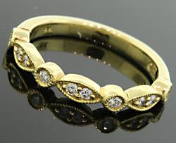Fancy Slender Band with Diamonds in 18K