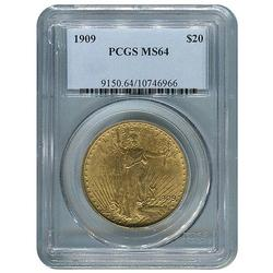 Rare 1909 St Gaudens $20 Gold Double Eagle, MS64