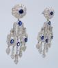 Diamond and Sapphire Chandelier Earrings in 18 KT