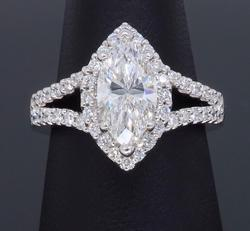 Certified Gabriel & Co Halo Diamond Engagement  Ring