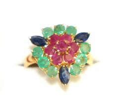 Stunning Ruby, Emerald, & Sapphire Ring in 14K Gold