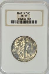 Gem BU 1945-S Walking Liberty Half Dollar. Old NGC MS65