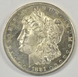 DMPL BU 1881-S Morgan Silver Dollar. Real flashy