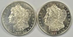 2 DMPL BU 1881-S Morgan Silver Dollars. Real flashy