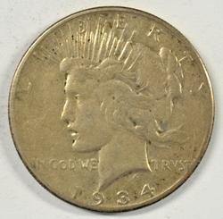 Key date 1934-S Peace Silver Dollar in sharp condition