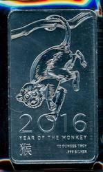 Great 2016 'Year of the Monkey' 10 Troy Oz. Silver Bar