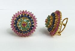 Fancy Natural Precious Gemstone Earrings in 14kt Gold