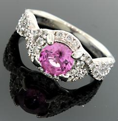 Pink Sapphire and VS Diamond Band