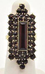 Vintage 14kt Gold Garnet Filled Ring, Eye Catching!