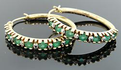 14kt Gold, Emerald, and Diamond Hoop Earrings