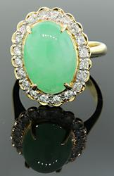 Jade Cabochon & Diamond Halo Ring in 18K