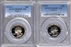 1979-S Type 1 & 2 Washington Quarters. PCGS PR69DCAM