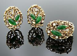 Intricate Emerald & Diamond Ring and Earring Set