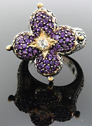 Designer Barbara Bixby Amethyst Lotus Ring