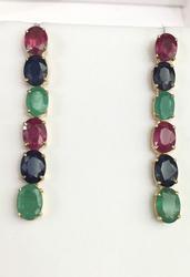 14kt Gold, Ruby, Sapphire, & Emerald Earrings