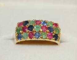 Precious Gemstone Multi Band 14kt Gold Ring