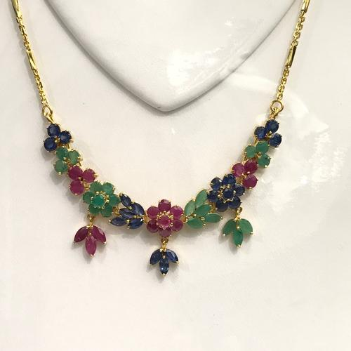 Emerald, Ruby, & Sapphire Necklace in 14kt Gold