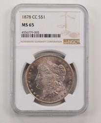 MS65 1878-CC Morgan Silver Dollar - NGC Graded