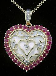 Ruby, Diamond & MOP Heart Pendant Necklace