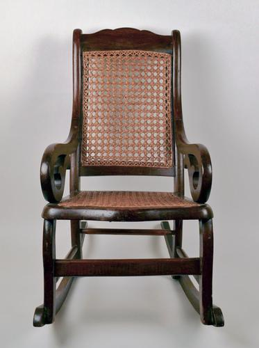 Antique Children S Wood And Cane Rocking Chair