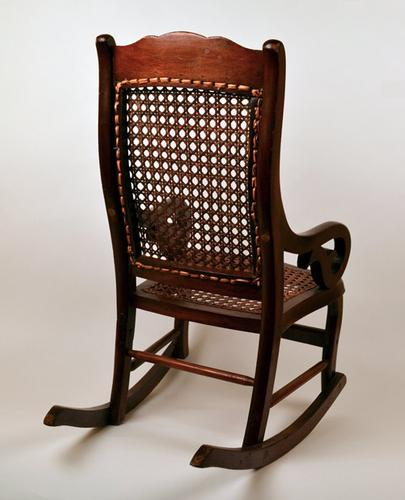 Antique Childs Children Wooden And Cane Rocking Chair