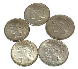 5 Peace Dollars
