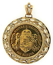 Re-strike 1908 Hungarian 100 Korona Coin Pendant