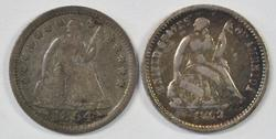 Sharp 1854 Arrows & 1862 Seated Liberty Half Dimes