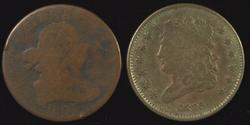 Scarcer 1805 Draped & 1835 Classic Head Half Cents