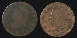 Scarcer 1810 Classic Head & 1822 Coronet Large Cents