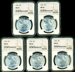 5 Investment quality 1923 Peace Silver Dollars NGC MS64