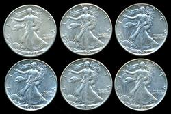 6 Diff. Walking Liberty Halves 1940-1946 in high grades
