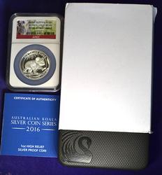 Austrailia PF70 High Relief 2016 Koala Silver $
