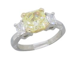 GIA Certified 2.08CT Fancy Yellow Diamond Ring