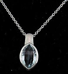 Fancy Bezel Set Aquamarine Pendant Necklace