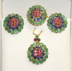 Fancy 18CTW  Emerald, Ruby, & Sapphire Set in 14K Gold