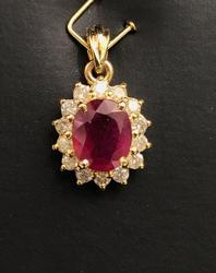 Gorgeous Ruby, Diamond and 14KT Gold Pendant
