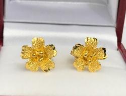 24K Gold Floral Earrings