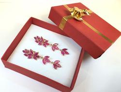 9 Carat Ruby and 14K Gold French Clip Earrings
