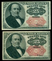 2 Nice 5th Issue 25c Fractional Currency Notes. Crisp