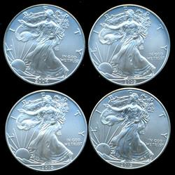 4 Diff. superb Gem BU $1 Silver Eagles 2004-2013